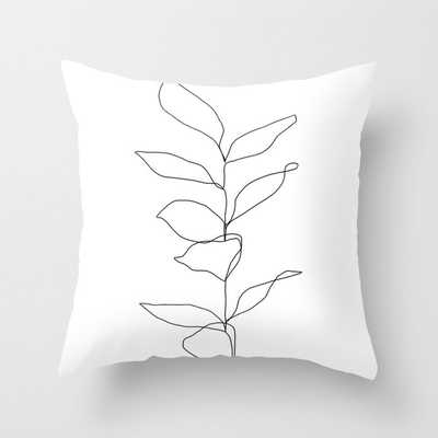 "Plant One Line Drawing Illustration - Kay Couch Throw Pillow by The Colour Study - Cover (20"" x 20"") with pillow insert - Indoor Pillow - Society6"