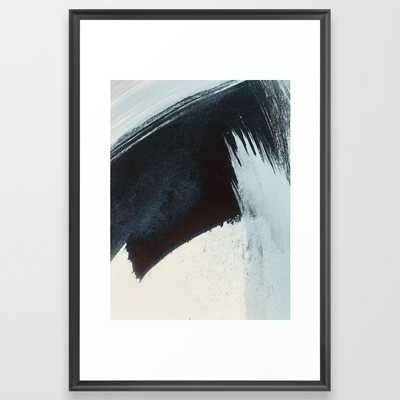Like A Gentle Hurricane [2]: A Minimal, Abstract Piece In Blues And White By Alyssa Hamilton Art Framed Art Print by Alyssa Hamilton Art - Scoop Black - LARGE (Gallery)-26x38 - Society6