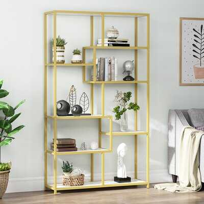 "Tayfun 70.86"" H x 39.37"" W Steel Geometric Bookcase - Wayfair"