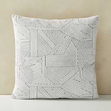 "Linear Cut Velvet Pillow Cover, 20""x20"", Stone White - West Elm"
