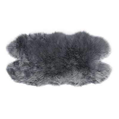 Glamour Home Ailsa Faux Sheepskin Fur Area Rug Runner Animal-hide Shape Grey 5x3 - Home Depot