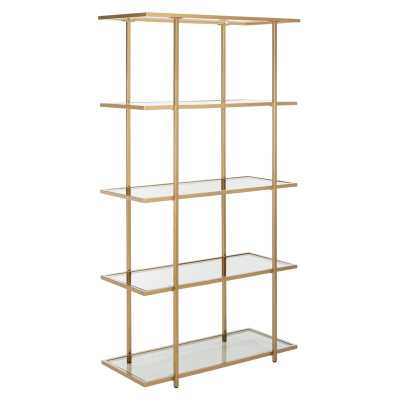 Francis 5-Tier Etagere Bookcase Color (Body/Shelves): Gold/Clear - Perigold