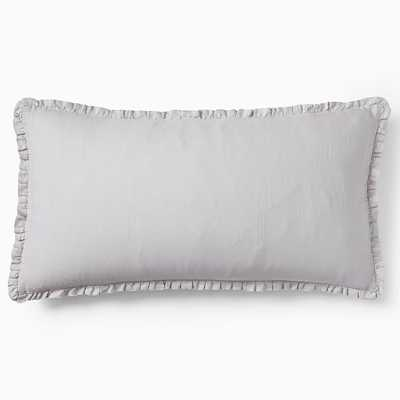 European Linen Ruffle Duvet, King Sham, Frost Gray - West Elm