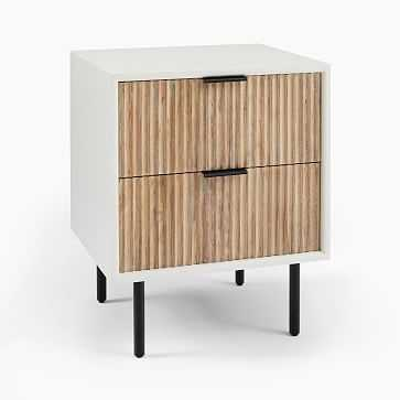 Quinn Nightstand, White + Rubberwood, Antique Bronze-Individual - West Elm