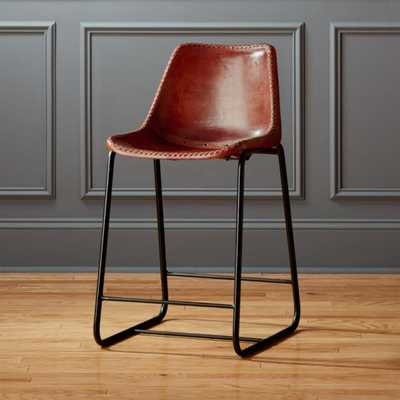 "Roadhouse 24"" Leather Counter Stool - CB2"