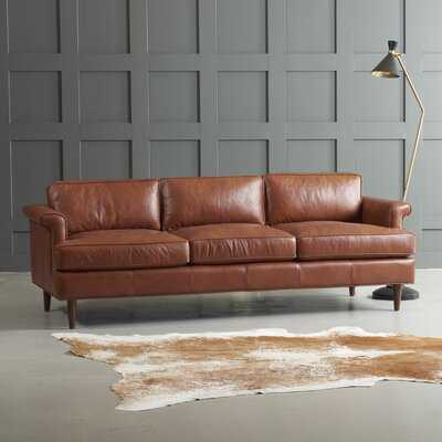 "Carson 89"" Genuine Leather Flared Arm Sofa - AllModern"