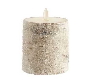 "Premium Flicker Flameless Wax Candle, Sugared Birch, 3x3"" - Pottery Barn"
