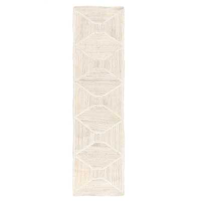 "Sisal Bow Natural Trellis Ivory/ Beige Runner Rug (2'6""X9') - Collective Weavers"