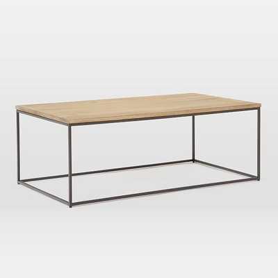 "Streamline XL Rectangle Coffee Table, 52""x30"", Whitewash & Antique Bronze - West Elm"