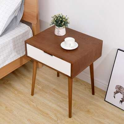 "Shallow Fraxinus Mandshurica/white Side Coffee Table Bedside Table With Drawer 22.5"" H - Wayfair"