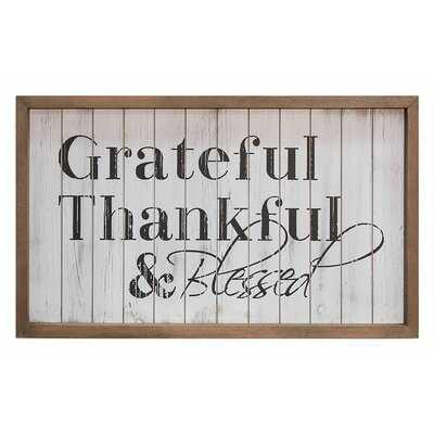 'Grateful & Blessed' Framed Textual Art on Wood - Birch Lane