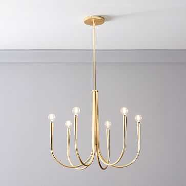 Swoop Arm Chandelier, Small Brass - West Elm