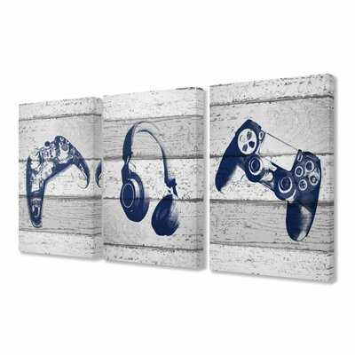 Farris Video Gamer Controllers Headset Graphics on Planks 3 Piece Set by Daphne Polselli Kids Wall Décor - Wayfair