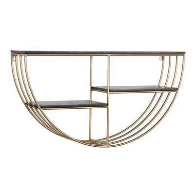"Black And Gold Metal And Wood Wall Shelf, 28"" X 15.5"" - Wayfair"