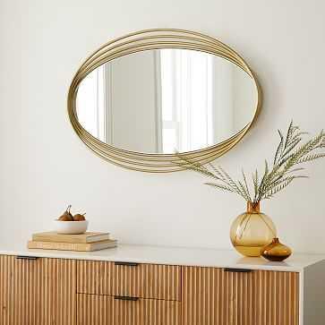 Zelda Oval Metal Mirror Antique Brass - West Elm