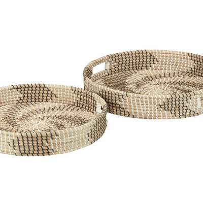 Home Decorators Collection Black, White and Natural Seagrass Decorative Round Tray (Set of 2), Multi-Colored - Home Depot