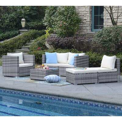 Augusta 6 Piece Rattan Sectional Seating Group with Cushions - Wayfair