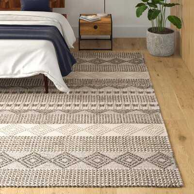 Carleen Striped Handmade Flatweave Gray/Ivory Area Rug - AllModern