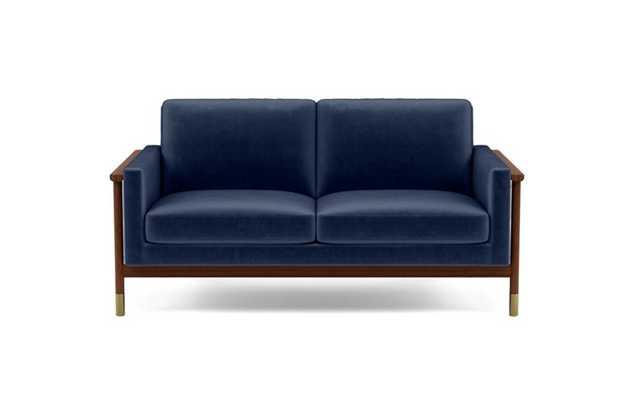 Jason Wu Loveseats with Blue Bergen Blue Fabric and Oiled Walnut with Brass Cap legs - Interior Define