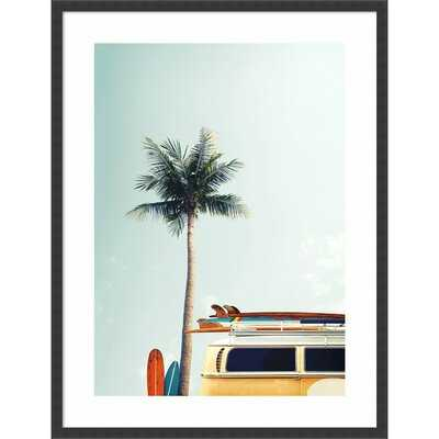 'Surf Bus Yellow (Palm Tree)' by Design Fabrikken - Picture Frame Photograph Print on Paper - Wayfair