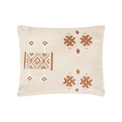 Bloomingville Brown & Off-White Embroidered Cotton Blend Pillow - Perigold
