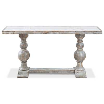 Monique French Country White Porcelain Top Wood Base Console Table - Kathy Kuo Home