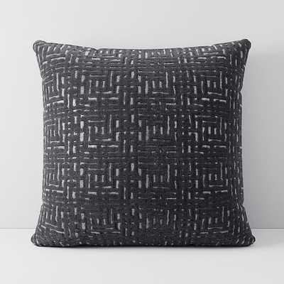 """Allover Crosshatch Jacquard Velvet Pillow Cover, Set of 2, 24""""x24"""", Slate - West Elm"""