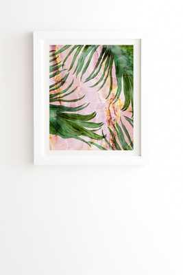 """Palm Leaf On Marble 01 by Marta Barragan Camarasa - Framed Wall Art Basic White 8"""" x 9.5"""" - Wander Print Co."""