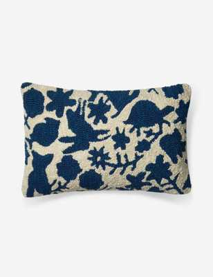Anahita Indoor/Outdoor Throw Pillow, Navy and Ivory - Lulu and Georgia
