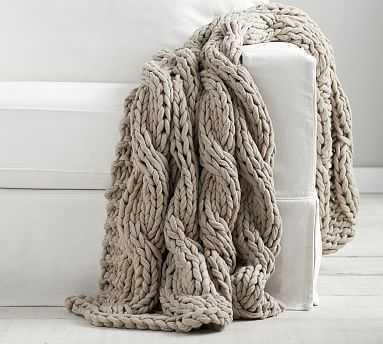"Colossal Handknit Throw, 44 x 56"", Putty - Pottery Barn"