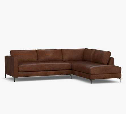 Jake Leather Left Sofa Return Bumper Sectional with Bronze Legs, Down Blend Wrapped Cushions, Burnished Walnut - Pottery Barn