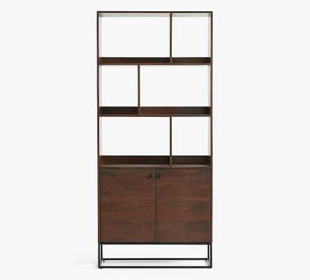Bradley Wood Bookcase with Doors, Dark Umber - Pottery Barn