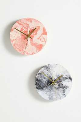 Marbleized Wall Clock By Anthropologie in Pink - Anthropologie
