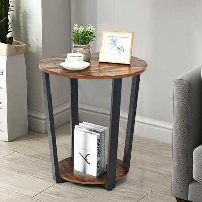 Round End Table With Storage Shelf - Wayfair