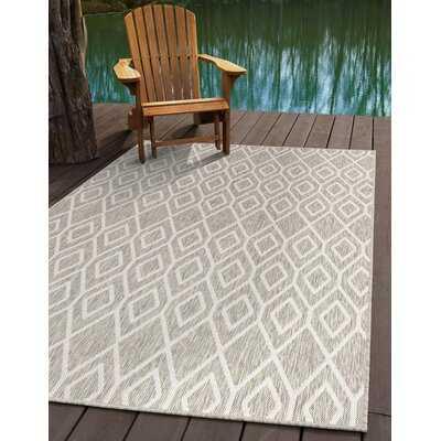 Geometric Gray Indoor / Outdoor Area Rug - Wayfair