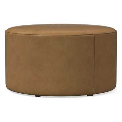 Isla Large Ottoman, Poly, Ludlow Leather, Sesame, Concealed Supports - West Elm