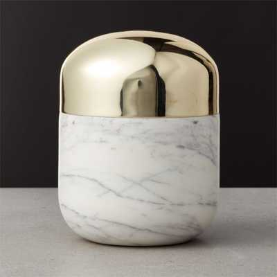 Capsule Large Marble Canister with Gold Lid - CB2