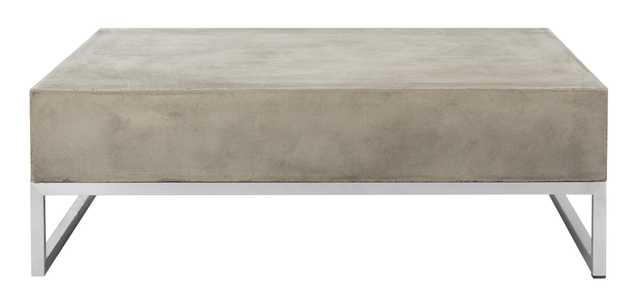 Eartha Indoor/Outdoor Modern Concrete 11.42-Inch H Coffee Table - Dark Grey - Arlo Home - Arlo Home