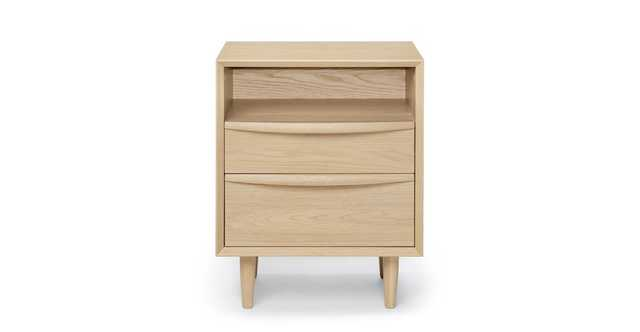 Lenia White Oak 2 Drawer Nightstand - Article