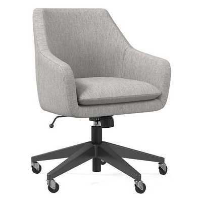 Helvetica Office Chair, Performance Coastal Linen, Platinum, Antique Bronze - West Elm