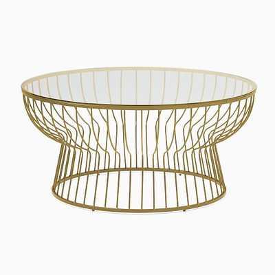 "Pillar Glass/Antique Brass Round 36"" Coffee Table - West Elm"