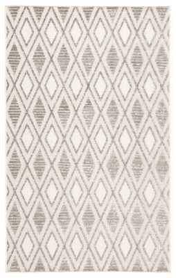 "Meira Indoor/ Outdoor Trellis Gray/ White Area Rug (7'6""X9'6"") - Collective Weavers"