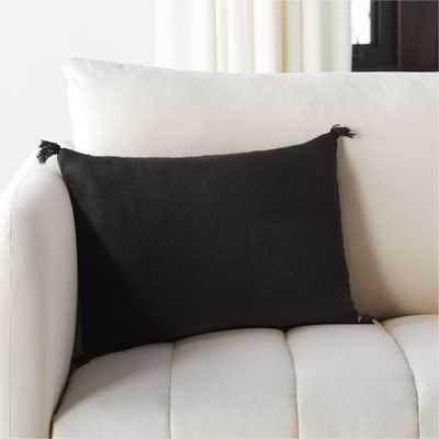 "18""x12"" Plait Black Pillow with Down-Alternative Insert - CB2"