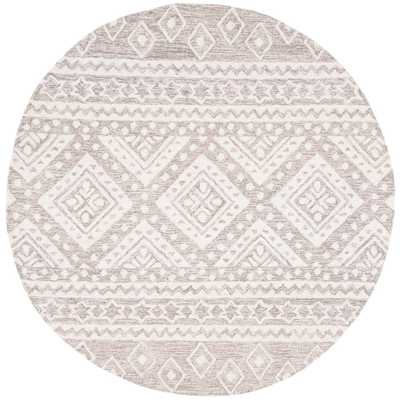 Safavieh Micro-Loop Gray/Ivory 5 ft. x 5 ft. Round Area Rug - Home Depot