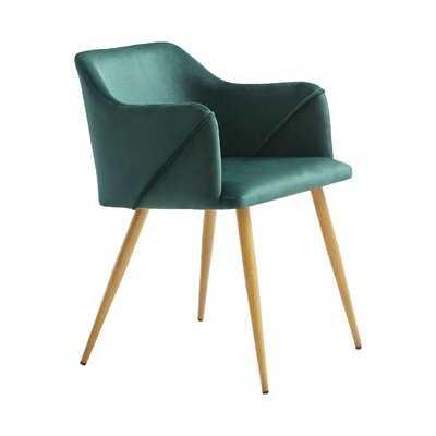 Meagan Velvet Upholstered Arm Chair in Dark Green - Wayfair