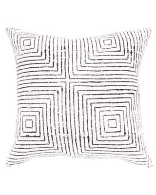 vanishing squares mud cloth pillow in white w insert - PillowPia
