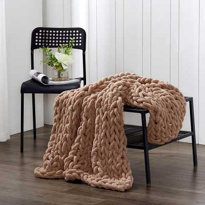 AMERICAN HERITAGE Mink Chenille Chunky Knit Throw - Home Depot