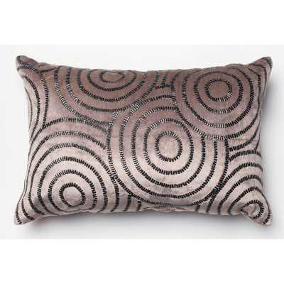 Velvet Down Geometric Lumbar Pillow Color: Chorcoal/Black - Perigold