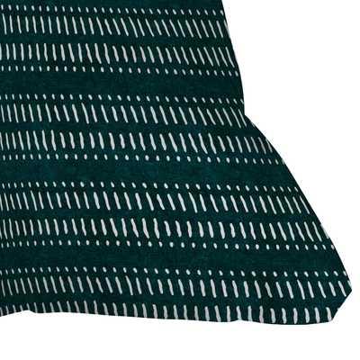 "Dash Dot Stripes Dark Teal by Little Arrow Design Co - Outdoor Throw Pillow 16"" x 16"" - Wander Print Co."