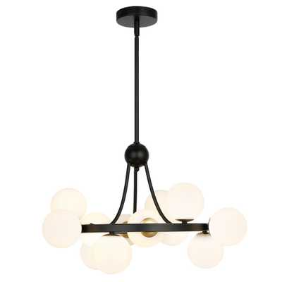 Light Society Trieste 12-Light Black Chandelier with Glass Shades - Home Depot